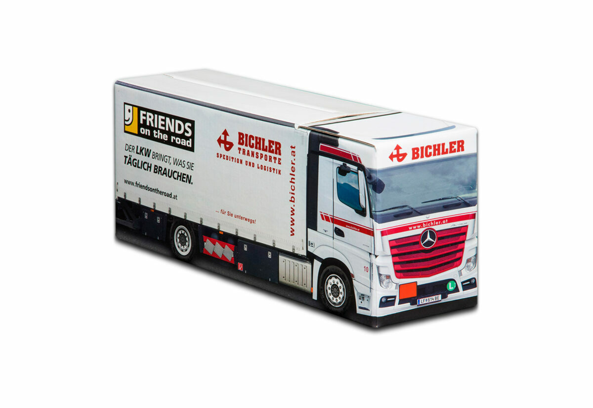 Truckbox Promotional Giftbox Truck superstructure, Mercedes Benz, Bichler Transporte
