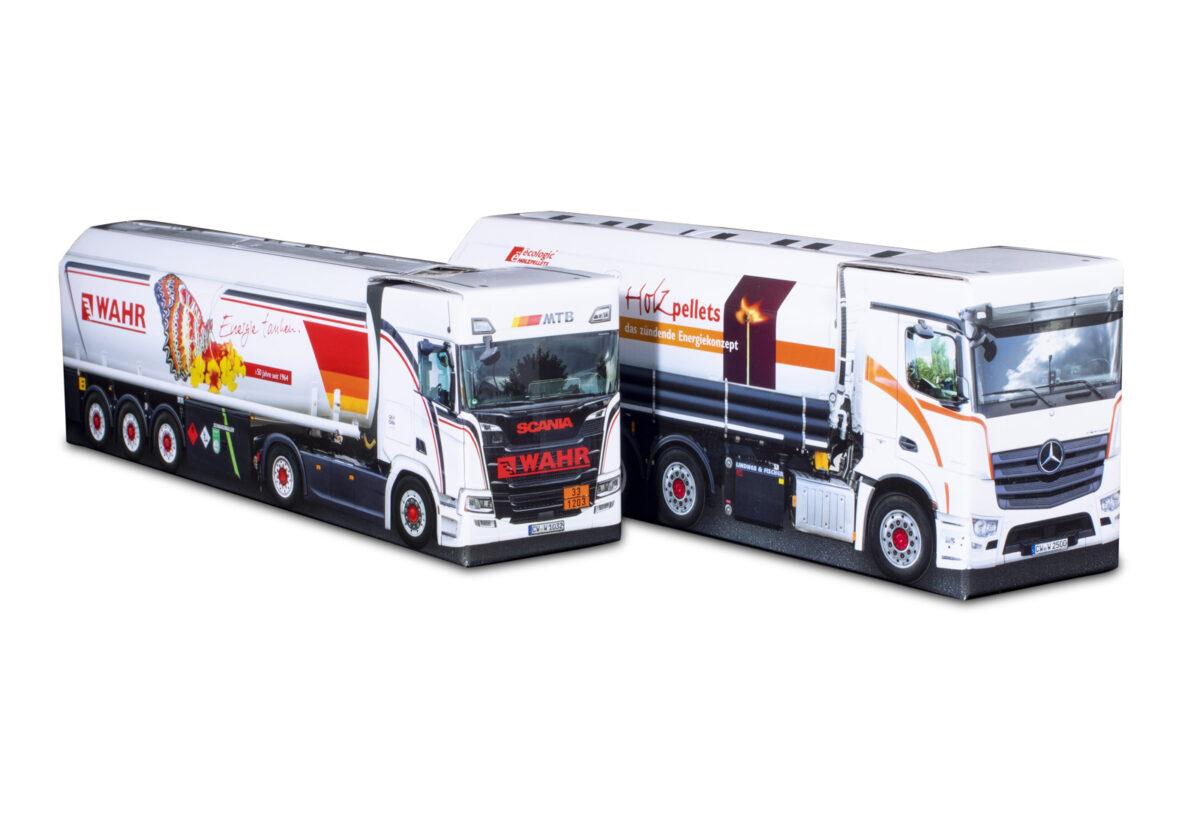 Truckbox Promotional Giftbox - Fuel Tank Truck Scania, Silo Truck Mercedes Benz - Wahr