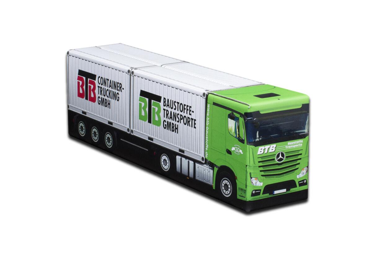 Truckbox Promotional Giftbox Mercedes + 2x Container 20ft, BTB Baustofftransporte & Containertrucking
