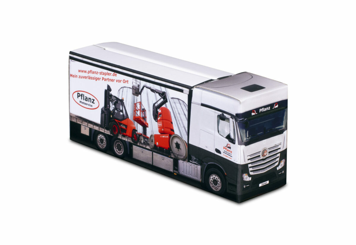Truckbox Promotional Giftbox Truck superstructure, Mercedes Benz, Pflanz
